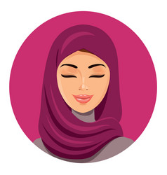 Beautiful muslim arab woman in hijab closing vector