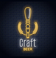 beer tap neon logo craft beer neon sign on black vector image