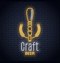 Beer tap neon logo craft neon sign on black vector