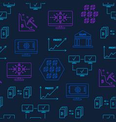 blockchain thin line seamless pattern background vector image