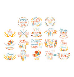 boho logo hand drawn banner set vector image