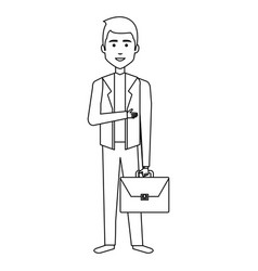 Businessman with portfolio avatar character icon vector