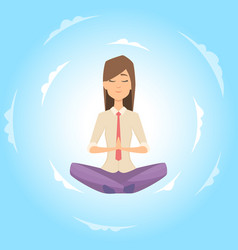 businesswoman safe balance with meditation vector image
