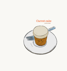 Carrot cake hand draw sketch vector