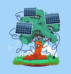 cartoon smiling tree with solar panels renewable vector image