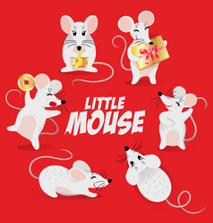 chinese new year symbol set - cute mouse vector image