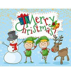 Christmas elf and snowman vector image