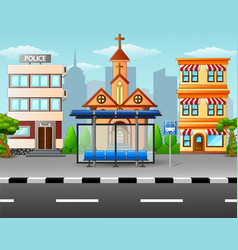 City scene with bus stop an vector