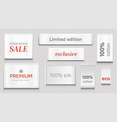 Cloth labels for apparel premium brand white tags vector