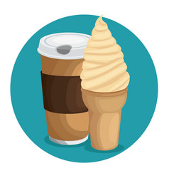 Coffe ice cream icon over blue background vector