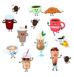 coffee emoji cup cartoon characters kawaii vector image