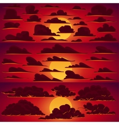 Collection of cartoon clouds in sunset vector image