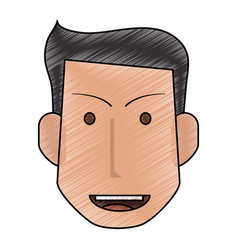 Color pencil front face man with hairstyle and vector