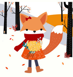 Cute baby fox girl and flower in the spring forest vector