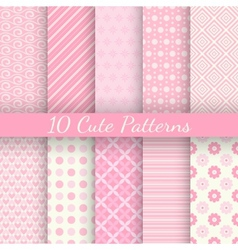 Cute different seamless patterns Pink and white vector image