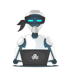 Cyber pirate robot hacking someone vector