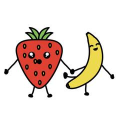 delicious strawberry and banana kawaii characters vector image