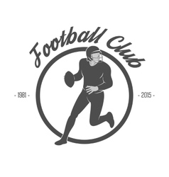 Design of white Football Label with Player vector image