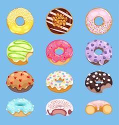 Donut food and glazed sweet dessert vector