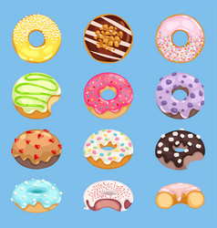 Donut food and glazed sweet dessert with vector