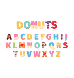 Donuts alphabet attraction funny text letters vector