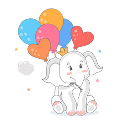 Elephant with balloons vector
