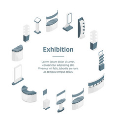 Exhibition stands 3d banner card circle isometric vector