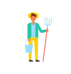 Farmer man lives in rural area vector