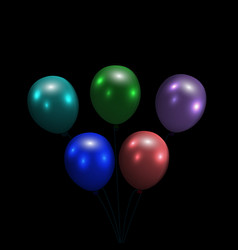 festive balloons realistic glossy colorful vector image