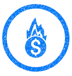 Fire damage rounded grainy icon vector