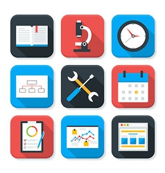 Flat Business and Office Life App Icons Set vector