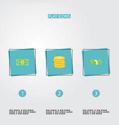 flat icons cash stack money small change and vector image