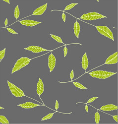 Floral seamless pattern background green on grey vector