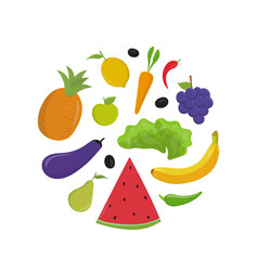 fruit and vegetables flat set vector image