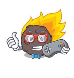 Gamer meteorite mascot cartoon style vector