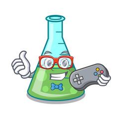 Gamer science beaker mascot cartoon vector