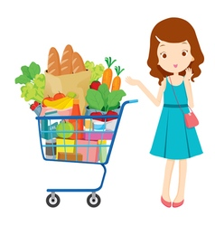 Girl and shopping cart full of eating vector image