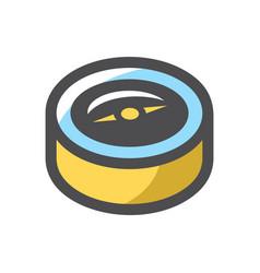 glossy yellow compass icon cartoon vector image