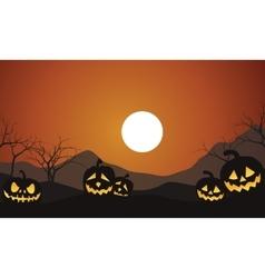 Halloween Scenery Pumpkins silhouettte vector