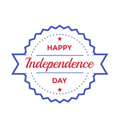 happy independence day badge on white vector image