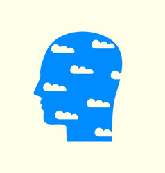 human head in profile with clouds in blue sky vector image