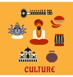 Indian culture and religion icons vector