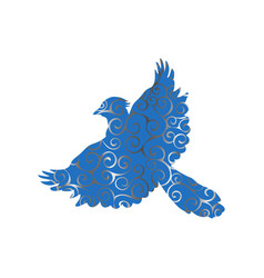 Jay bird spiral pattern color silhouette animal vector