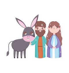 Joseph and mary with donkey manger nativity merry vector
