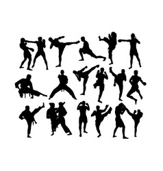 karate and martial art activity silhouettes vector image