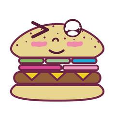 Kawaii cute funny humburger food vector