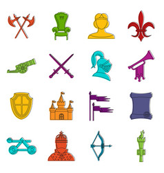 knight medieval icons doodle set vector image