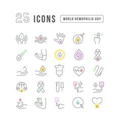 Line icons world hemophilia day vector