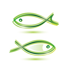 logo-like fish symbol isolated icons set vector image