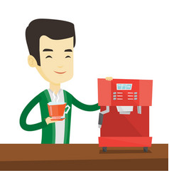 Man making coffee vector